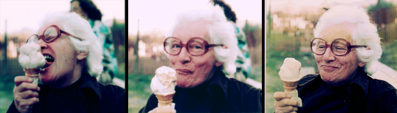Malvina Reynolds thoroughly enjoying an ice cream cone